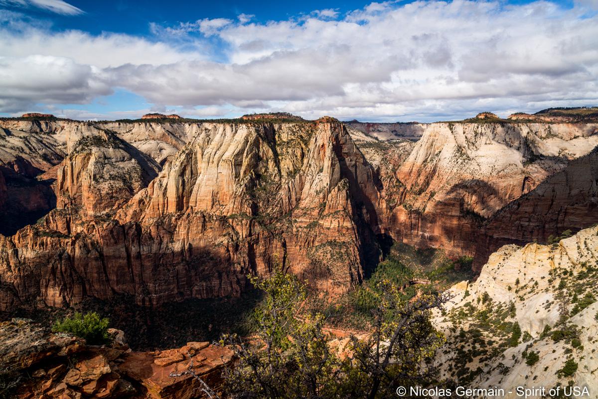 Vue du sentier qui longe la falaise le long de Deertrap Mountain, Zion