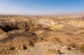 Panorama sur Carrizo Badlands vu du sentier de Wind Caves, Anza Borrego