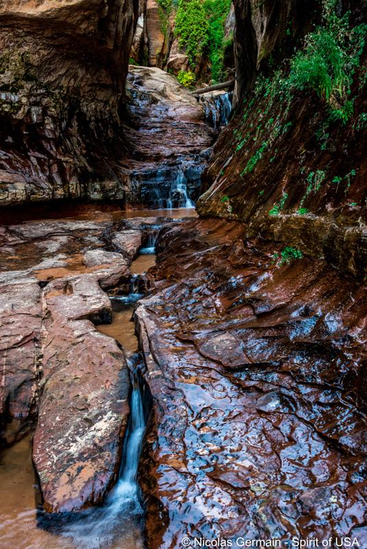 Petites cascades en haut de Water Canyon dans la partie des Narrows