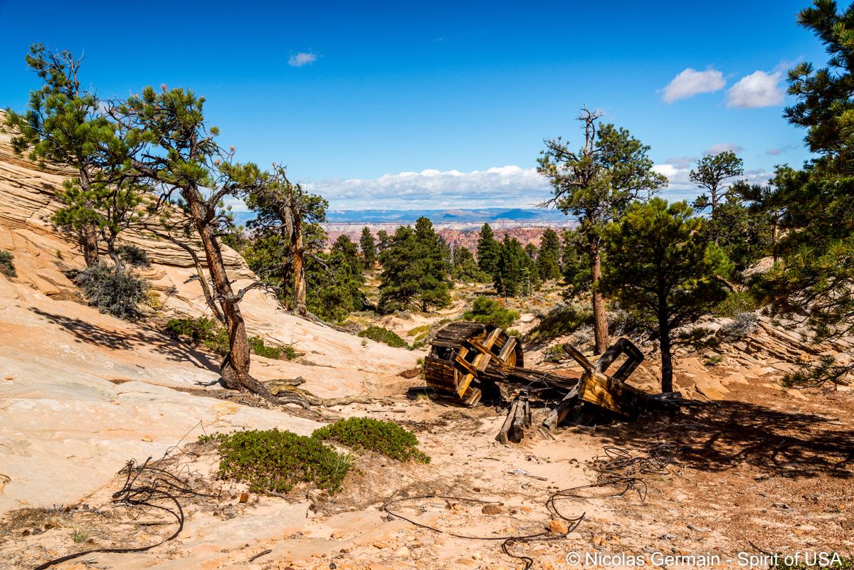 Restes du système de câbles à The Windlass, Canaan Mountain