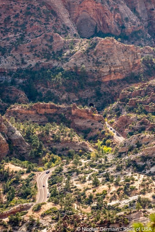 Mount Carmel Tunnel vu du sommet de Progeny Peak