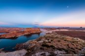 Lake Powell, Gunsight Butte, Tower Butte et Navajo Mountain vus d'Alstrom Point, Glen Canyon