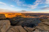 Vue sur la section nord de Moonscape Overlook au lever du soleil