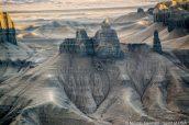 Détail de formations rocheuses vues de Moonscape Overlook, Utah