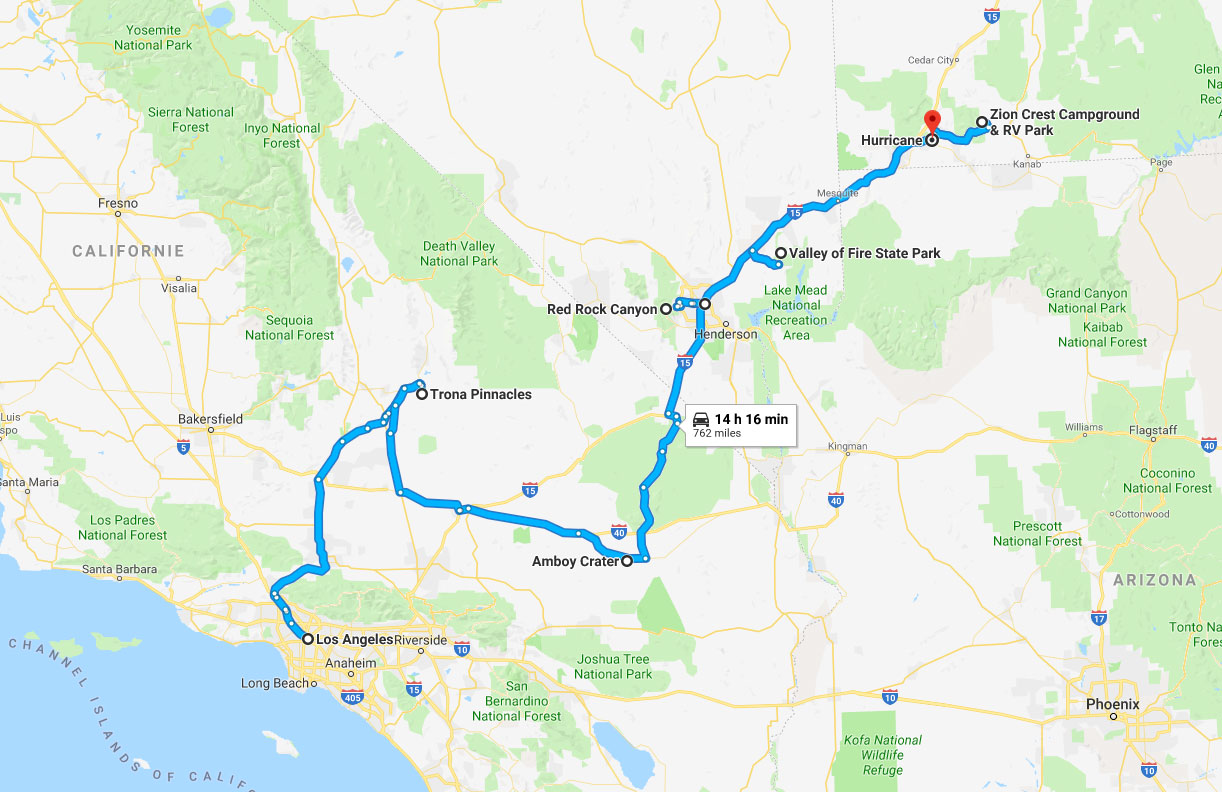 Itinéraire de la première partie de mon road trip de l'automne 2018