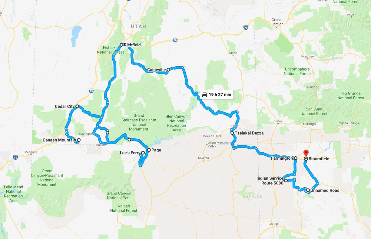 Itinéraire de la deuxième partie de mon road trip de l'automne 2018