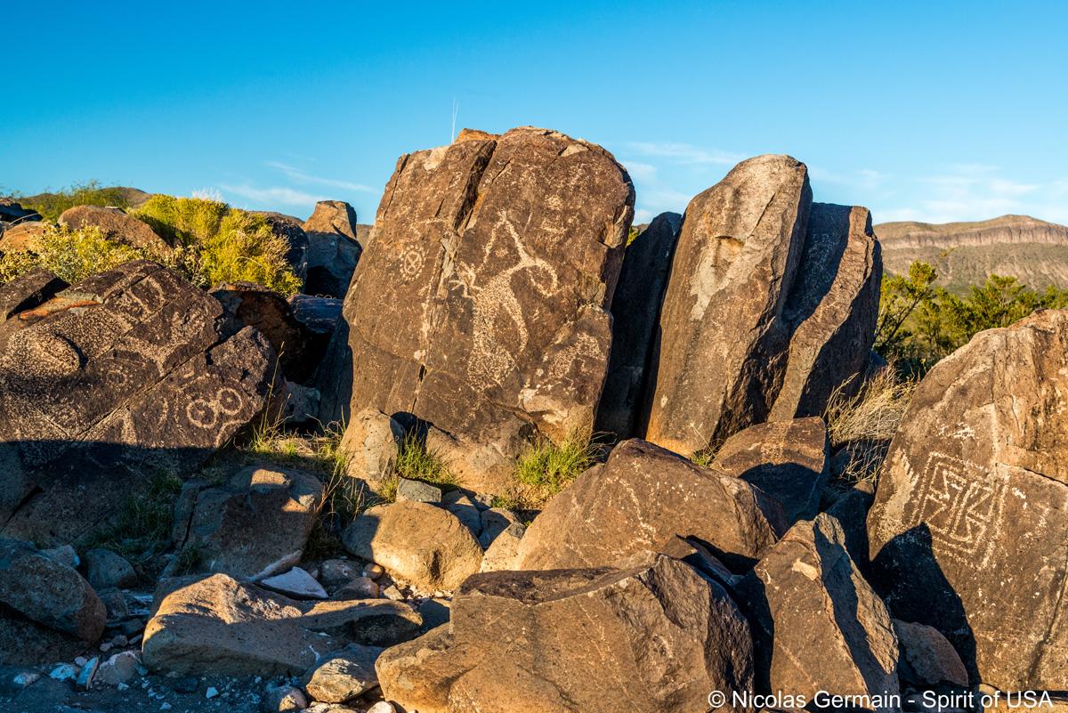 Exemple de plusieurs pétroglyphes que l'on peut trouver à Three Rivers Petroglyph
