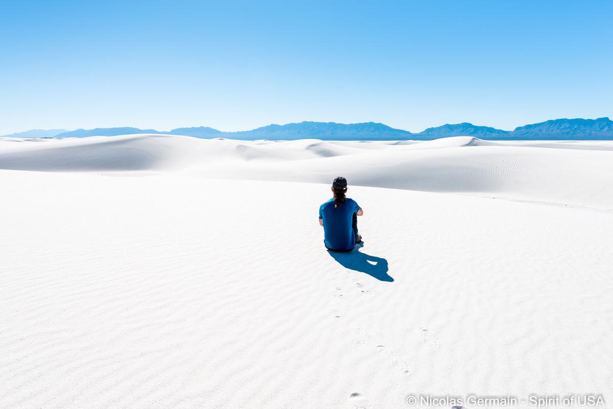 Quelques minutes de repos et de contemplation du paysage de White Sands