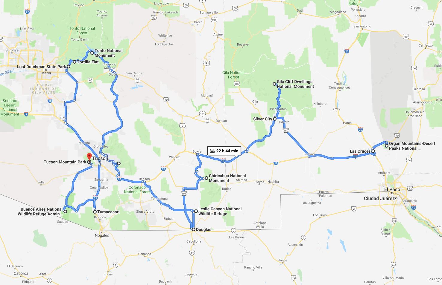Itinéraire de la quatrième partie de mon road trip de l'automne 2018