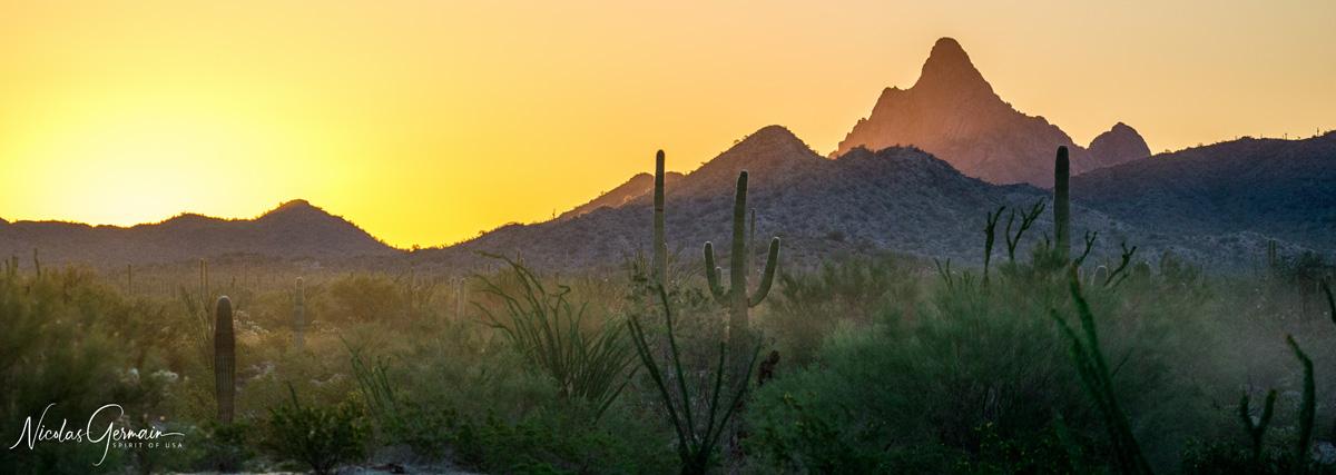 Lever de soleil sur les montagnes de Cabeza Prieta, Arizona
