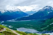 Panorama lors de la descente du sentier Harding Icefield Trail, Alaska