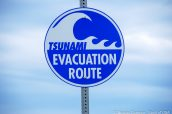 Panneau d'alerte au tsunami à Homer, Alaska