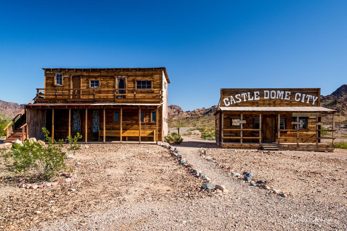 Deux bâtiments dans la section Mine District de Castle Dome, Kofa National Wildlife Refuge