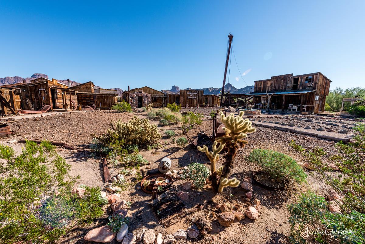 Vue d'ensemble de la ville fantôme de Castle Dome City, Kofa National Wildlife Refuge