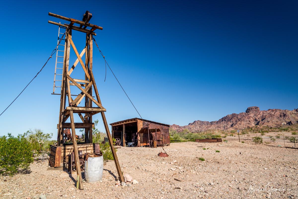 Infrastructure d'un puit minier à Castle Dome Mining District, Kofa National Wildlife Refuge