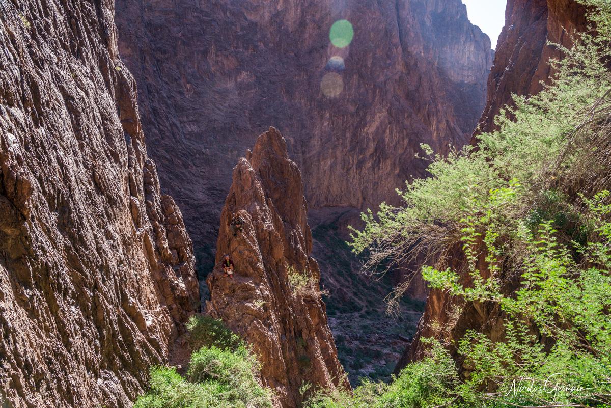 Deux randonneurs sur une petite flèche rocheuse faisant face aux palmiers de Palm Canyon, Kofa National Wildlife Refuge