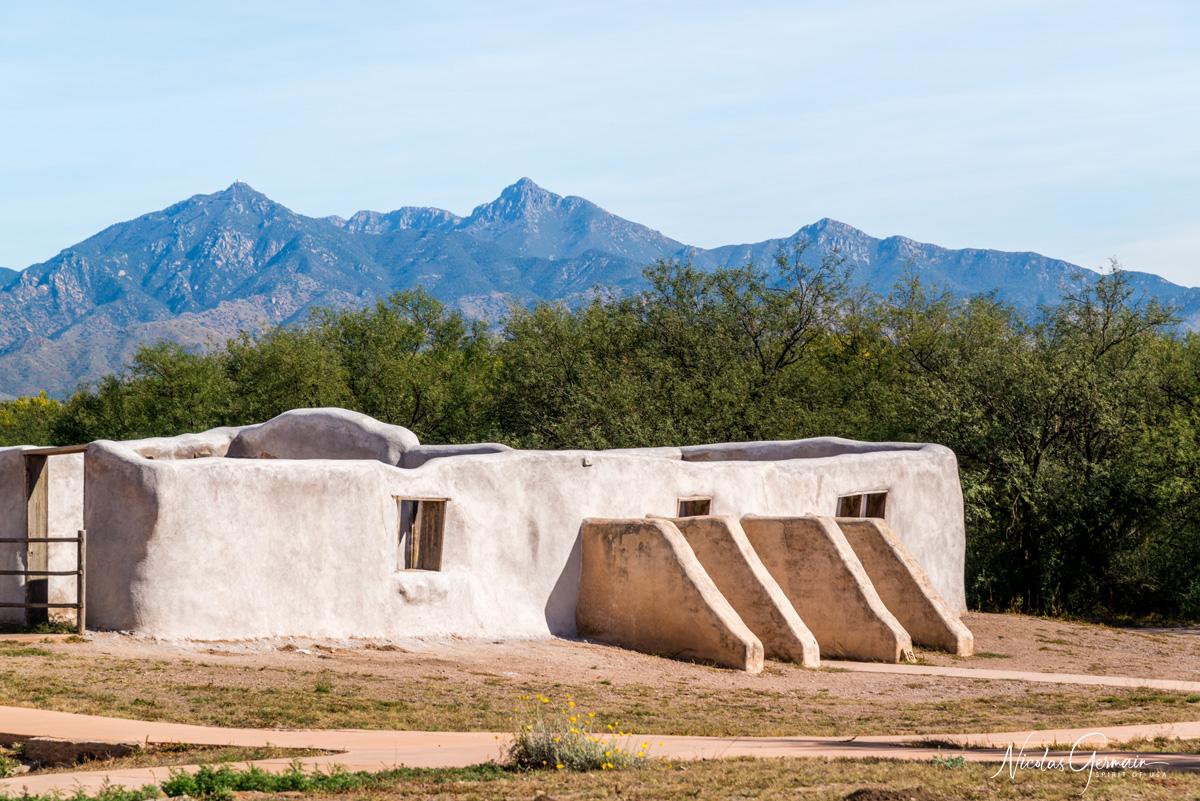 Bâtiment en adobe sur le site de Tumacacori