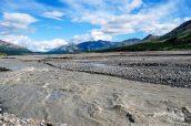 La rivière Toklat presque asséchée durant l'été, Denali National Park