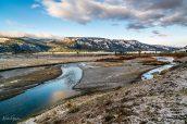 Paysage partiellement enneigé à Lamar Valley, Yellowstone National Park