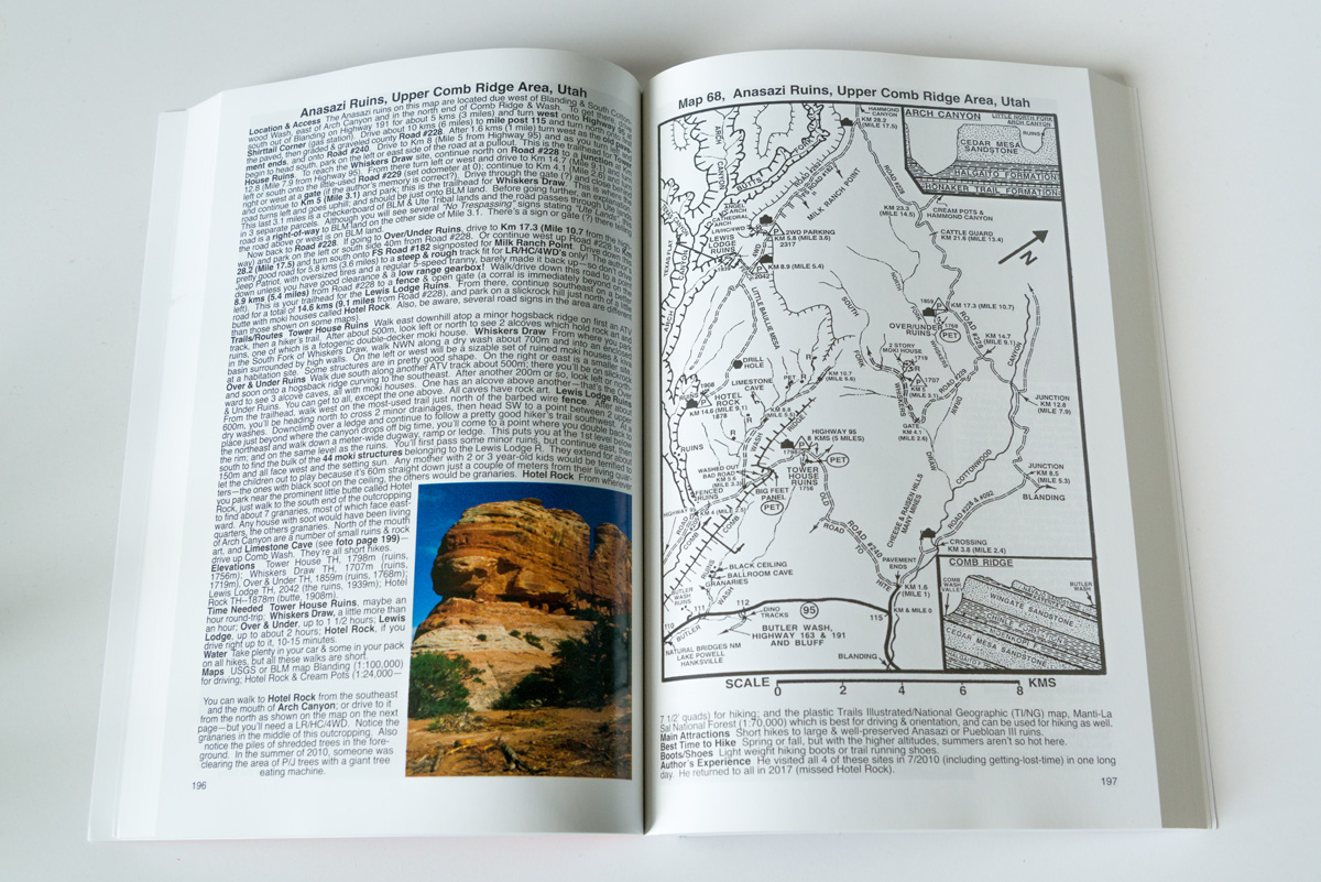 Texte et carte de Hiking Guide to the Colorado Plateau