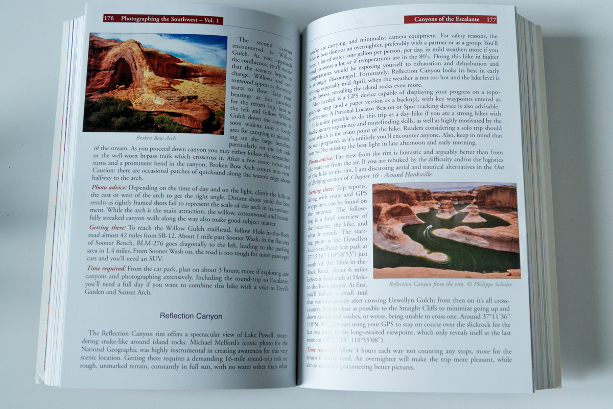 Exemple de pages de Photographing the Southwest, ici édition Utah