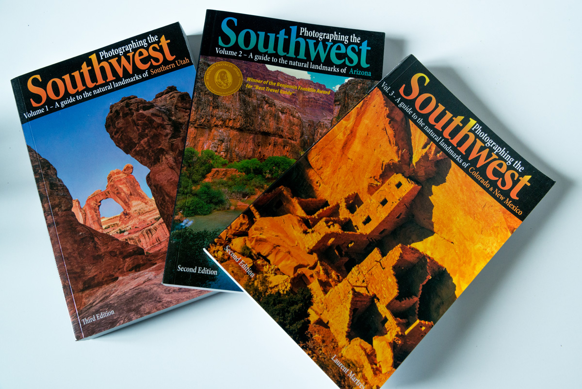 Couvertures des trois volumes de Photographing the Southwest de Laurent Martres