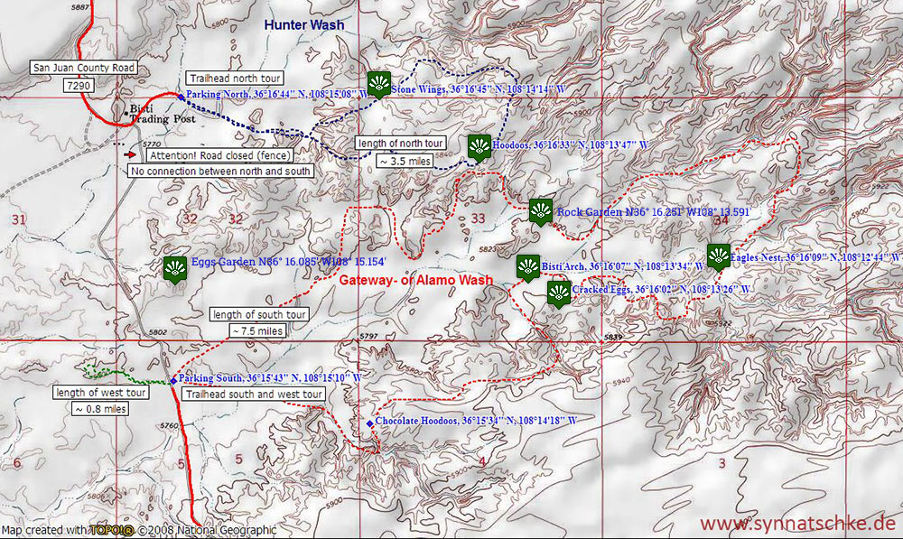 Carte de Bisti Badlands