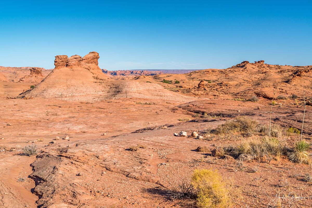 Quelques petites formations rocheuses se distinguent dans la dernière partie du chemin aller vers Reflection Canyon où le slickrock domine